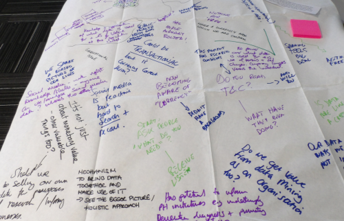 Notes scribbled on a tablecloth in different colours and hands
