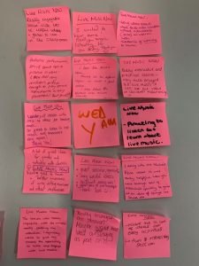 Post-it notes with workshop feedback