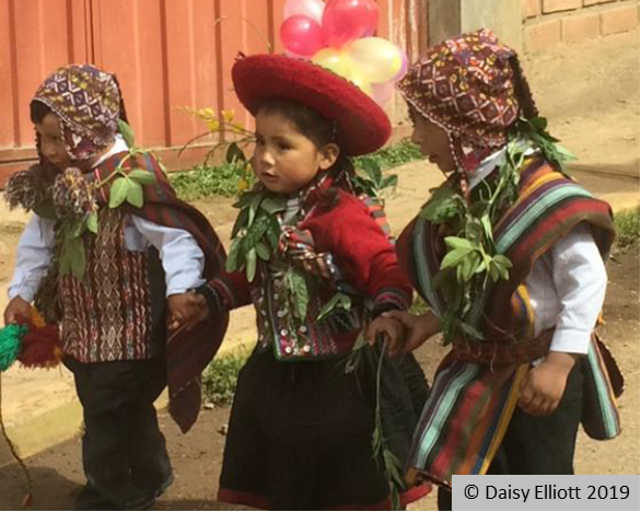 Children in traditional Peruvian costume