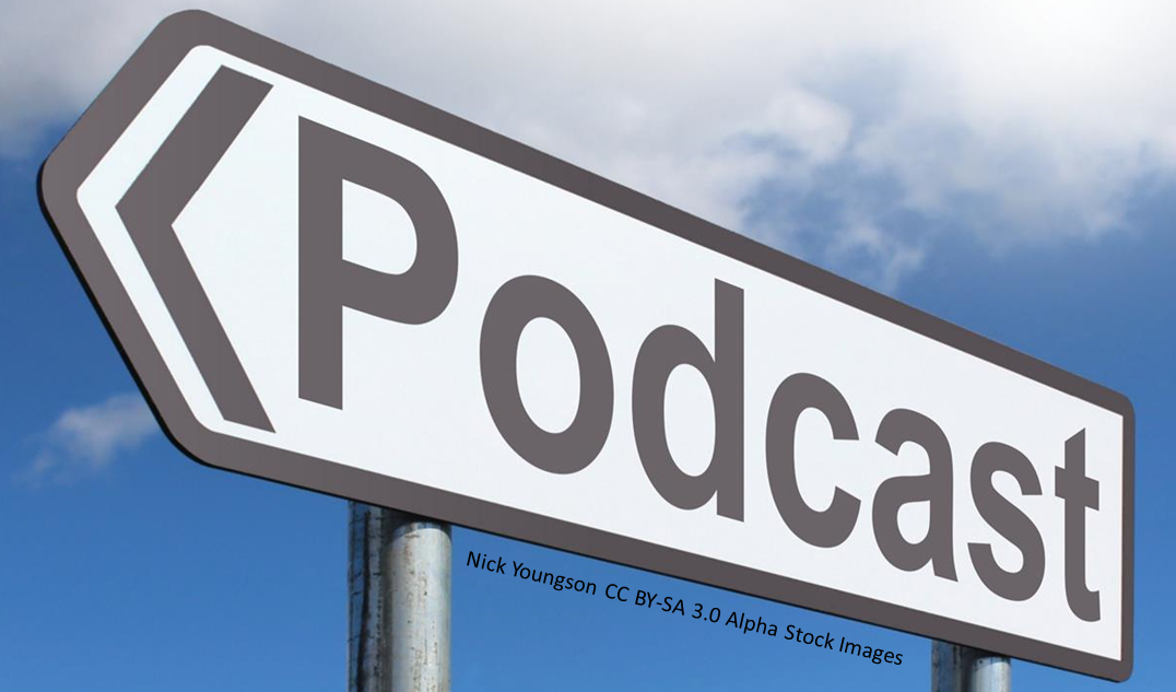 Road sign pointing to 'podcast'
